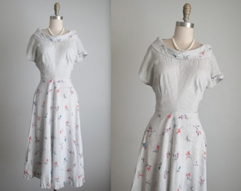 40's Rayon Dress // Vintage 1940's Grey Floral Print Rayon Garden Party Dress L XL