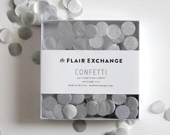 Wedding Confetti - Hand-Cut Confetti - Sterling : Gray, White, Metallic Silver