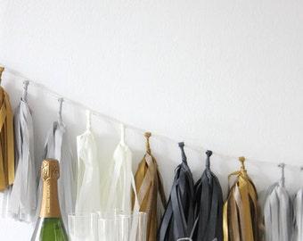 DIY Tassel Garland Kit - Black, White, Gold & Gray : Tuxedo