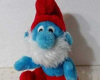 Vintage Grandpa Smurf Plush Doll Vintage Smurf Plush