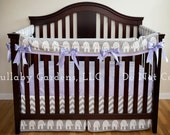 Girl Crib Bedding Set- Grey, White and Lavender with Elephants - 3 piece custom bumperless baby bedding
