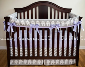 Girl Crib Bedding - Grey, White and Lavender with Elephants - 3 piece custom bumperless baby bedding