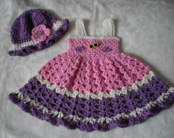 Summer Sun Cotton Dress and Hat Set for 3 Months