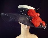 BLACK Kentucky Derby Hat with Red Rose,Derby Hat,Dress Hat Wedding Hat Wide Brim BLACK Hat Tea Party Hat Ascot