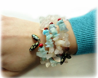 MONET MONET - Pastel Pink and Baby Blue Wrap Cuff Gemstone Bracelet- Aquamarine and Rose Quartz