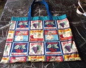 """REUSABLE MARKET Bag Fruits XLrg  15.5"""" X 18"""" grapes, cherries, apples, pear w/poly straps, affordable Eco-Friendly gift"""