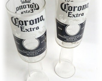 Beer Bottle Wine Glasses Corona Extra Goblets Candle Holders Set Of 2