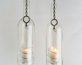 "Wine Bottle Candle Holder As Seen on The ""TODAY SHOW"" Hanging Hurricane Lanterns Set of 2 Clear Glass Outdoor Lighting"