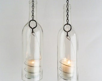 Wine Bottle Candle Holder Hanging Hurricane Lanterns Set of 2 Clear Glass Outdoor Lighting
