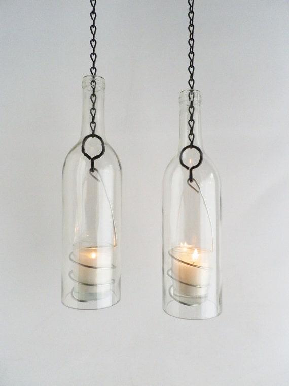 Wine Bottle Candle Holder Hanging Hurricane Lanterns Set of 2 Clear Glass Outdoor Lighting
