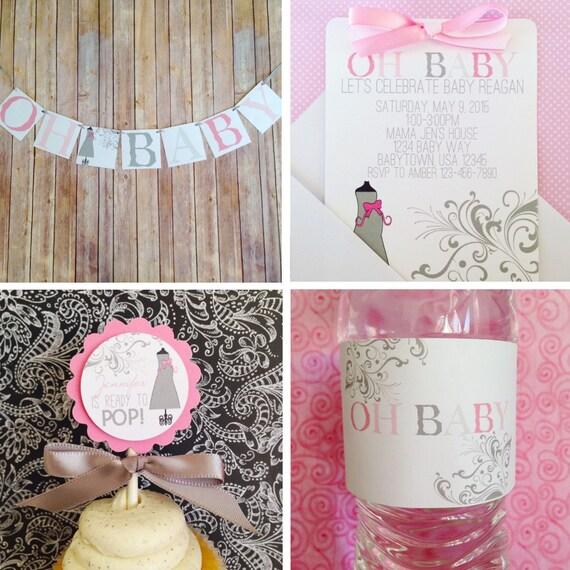 baby shower pack pink and gray baby shower swirls baby shower