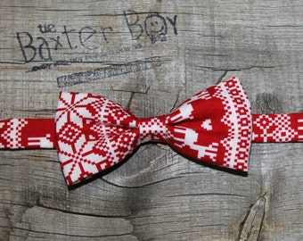 Nordic Sweater little boy bow tie - photo prop, wedding, ring bearer, accessory, Christmas