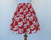 Creepy Cute Valentines Day Cat Skirt Cats Kitty Red Pink Hearts Lolita Elastic Waistband