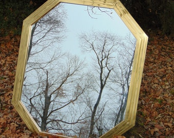 HOLLYWOOD  Regency, Brass Antique Wall Mirror,  Ocatgon Shaped,HEAVY Wall Mirror, Size 42 x 36 x 3 inch , Wide Frame