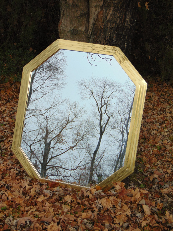 Hollywood regency brass antique wall mirror ocatgon for Mirror 42 x 36