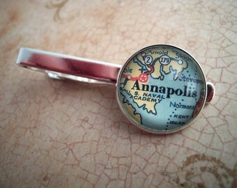 Vintage Custom Annapolis Maryland Tie Clip Bar 20mm Mens Jewelry Travel Groomsmen Gifts