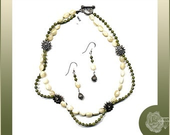 """17"""" Necklace Dark Green Fossil Beads Caramel Mother-of-Pearl Aztec Pewter Florals Pewter Toggle Clasp And/Or Earrings Sterling Silver Wires"""