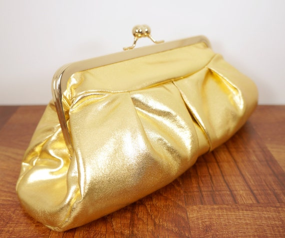 Metallic clutch, gold clutch purse in frame, formal evening bag with chain