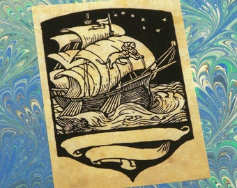 Nautical Bookplate: Set of 24 Library Book Plates with Sailing Ship