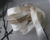 Silk Fairy Ribbons - Wrap Bracelet - Hand Painted or Dyed - taupe frosty white - Jewelry Supply - DIY Bracelet - Silk Wrap Bracelet