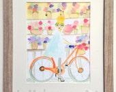 Fashion Illustration, Bicycle Art Print, Fashion Art Print, Wall Art Decor, Tiffani on the Bicycle