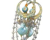 Graduation Sale Labradorite, Cloisonne, Pearl Gold Chandelier Earrings