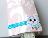 Pink Damask with Owl - Childrens Girls - Night Light