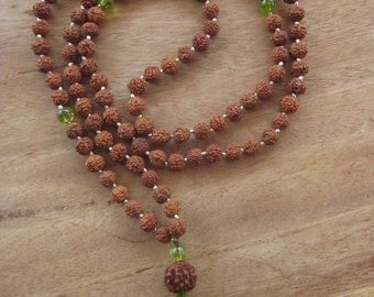 Mala Rudraksha 108 beads with tiny silver bead peridot necklace/ 33 inches long / silver 925