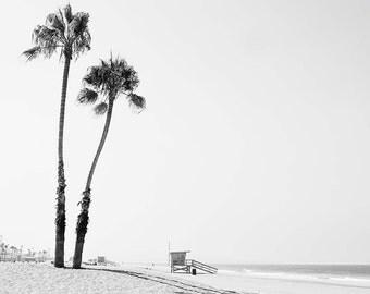 "Los Angeles Beach Photograph, Black And White Beach Decor, Palm Trees, Lifeguard Tower, California Beach Decor, ""Dockwieler Beach"""