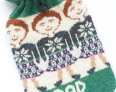 Personalised Scottish Highland  Kilted Man Fairisle Knitted Hot Water Bottle Cover/Cosy