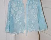 50s Bed Jacket, Odette Barsa, Robe, Pale Blue, Chiffon, Lingerie, Embroidery, Floral, Bridal, Size S/M