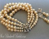 Great Gatsby Pearl Bracelet Set with Earrings 4 multi strands Swarovski pearls in Champagne Vintage Art Deco Rhinestone Clasp wedding bridal