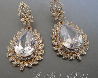 Long Bridal Earrings in Rhinestone Gold or Silver with Pear shaped Crystal drop in a long 2 inch dangle style