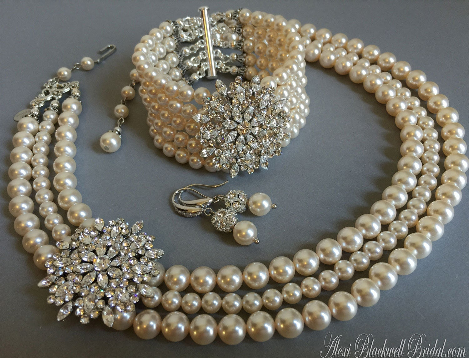 bracelet and earrings sets complete bridal jewelry set pearl necklace bracelet earrings 6835