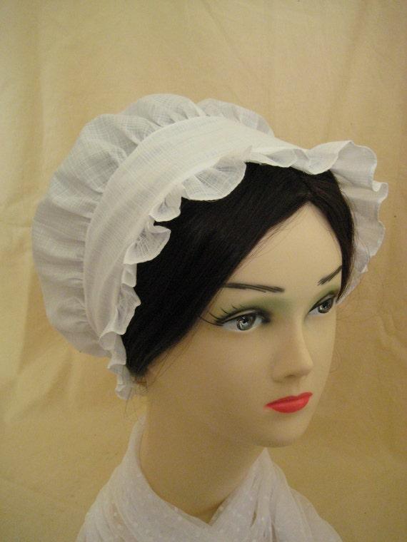 Regency Day Cap. Jane Austen. CUSTOM MADE Cotton Organdy.