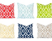 Sofa Pillow Covers - Throw Pillow Covers - Trellis Print in Six Colors - Aqua Pillow Covers - Green Pillow Covers - Trellis Pillow Cover