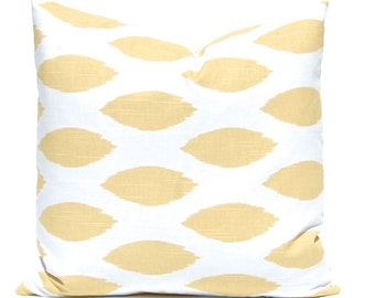 Decorative Pillow Cover - Gold Pillow Cover - Ikat Pillow Cover - Throw Pillow Cover - Cushion Cover - Soft Yellow Pillow Cover
