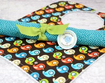 Bib and Burp Cloth Set- Peek a Zoo Baby Orange Green Turquoise Mod Birds on Brown Organic Cotton