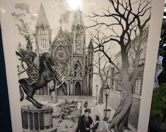 Original Park Print, Original Pen and Ink Pointillism Print, Cathedral, Gothic Print