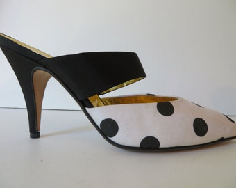 Vintage 1990's/Polkadot High Heel Mules/Andrea Pfister/Black and White Polkadot High Heels/8-8.5M