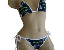 Seattle Seahawks Bikini - By Sexy Crushes - Custom Made Top and Scrunch Bottom
