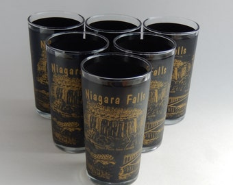 6 Niagara Falls Souvenir Glasses, Black and Gold, circa 1960s