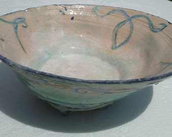 Footed, Handpainted Pottery Serving Bowl