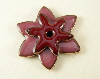 Medium and Small Stacked Dark Red and Orchid Enameled Center Drilled Star Flowers