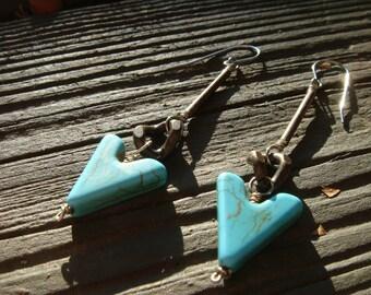 Turquoise Arrow Dangle Earrings
