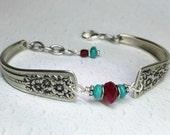 Spoon Bracelet, Garnet & Genuine Turquoise, Silverware Jewelry, Spoon Jewelry, 'Silver Belle' 1940
