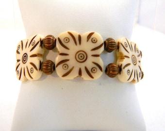 Bracelet, White and Copper Stretch Bracelet, Bohemian Bracelet, White Bracelet