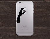 Holding an Apple, Hand Silhouette Version 2 Vinyl iPhone Decal BAS-0247