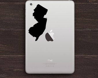 New Jersey Silhouette Vinyl iPad Decal New Jersey Sticker BAS-0152