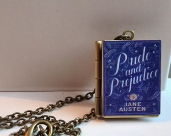 Handmade Pride and Prejudice Vintage Book Locket Pendant with Antique Chain